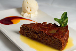 Duffys-Malahide-best-food-in-Dublin-Ginger-&-Pear-Cake-with-Ginger-Caramel-Sauce